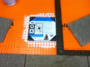 Place Toilet Flange Tile Guide over flange and square against tiles